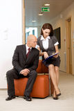 boss and secretary looking on documents Royalty Free Stock Image