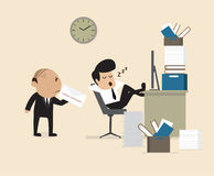 Boss see Employee fall assleep during working. Vector cartoon of Boss see Employee fall assleep during working Royalty Free Stock Images