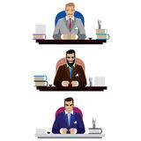 Boss set. Vector illustration on white background featuring set of three bosses, good, angry and bad, sitting at the tables Stock Photo