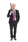Boss with shotgun. Armed Mobster or businessman with shotgun royalty free stock photo
