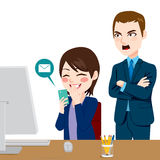 Boss Shouting Distracted Employee. Angry boss shouting employee woman distracted chatting with smartphone vector illustration