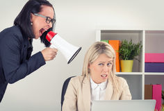 Boss shouting at employee on megaphone Stock Photo