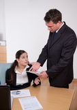 Boss showing dissatisfaction Stock Images