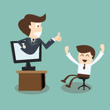 Boss showing thumb up in monitor screen to employee Royalty Free Stock Photography