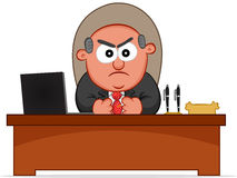 Angry Boss is Sitting Behind His Desk Royalty Free Stock Photography