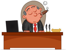 Boss is Sitting Behind His Desk Royalty Free Stock Images