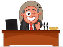Winking Boss is Sitting Behind His Desk Stock Photography