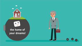 The boss with the smallest debt wants a home loan. Royalty Free Stock Photo