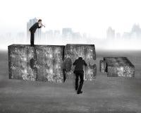 Boss speaker yelling employee pushing jigsaw puzzle concrete blo Stock Photography