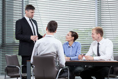 Boss speech during business meeting Royalty Free Stock Image