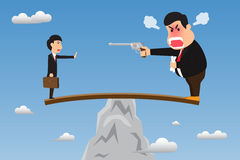 Boss stand on wood overhanging from escarpment cliff with angry. Using gun intimidate his employee. Vector cartoon illustration on foolish action to self Stock Photo