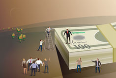 Boss standing on money. Illustration of a boss standing on a pile of money addressing a team of business people Stock Image
