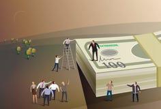 Boss standing on money Stock Image