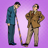 Boss and subordinate business concept. Pop art retro style. The humiliation of the pride of emotions. Hard work Stock Photography
