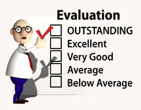 Boss Teacher Inspector Evaluation Check. A cartoon boss or teacher puts a red check mark on a report card or evaluation for job performance Royalty Free Stock Image