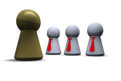 Boss and team. Play figures with red tie and one in gold Royalty Free Stock Photography