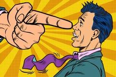 Boss threatens finger to businessman. Pop art retro vector illustration Stock Photo