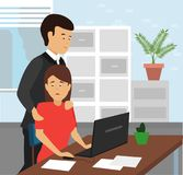 Boss touching the arm to shoulders of his secretary at office. vector illustration