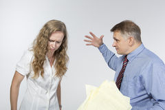 Boss is upset with his employee Stock Images