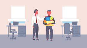 Boss welcoming new job vacancy employee with stuff cardboard box comfortable workplace office interior first working day. Concept flat horizontal vector vector illustration