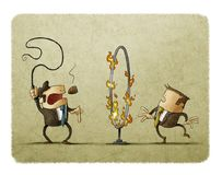 Boss with a whip in his hand is signaling an employee to pass through a hoop of fire. Submission concept. Illustration of boss with a whip in his hand is vector illustration