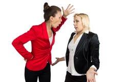 Boss woman yelling at a subordinate. Boss women  yelling at a subordinate on the white background Stock Image