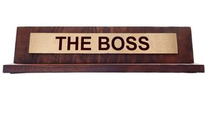 The Boss. Wooden nameplate with The Boss text, isolated on white Stock Photography