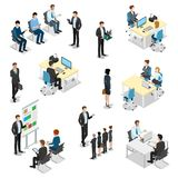Boss work places flat  isometric interior. B. Meeting room presentation team work process flat 3d isometry isometric concept web infographics  illustration Royalty Free Stock Photography