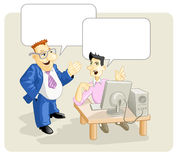 Boss with worker. Big Boss speaking with computer worker vector illustration