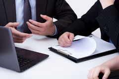 Boss and worker on business meeting Stock Images