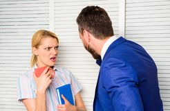 Boss and worker discuss working plan. Prejudice and personal attitude to employee. Office quarrel concept. Misunderstanding between colleagues. Tense royalty free stock images