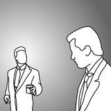 Boss and worker talking vector illustration doodle sketch hand d Royalty Free Stock Photo