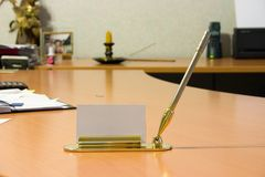 Boss working space. With blank card holder Stock Photos