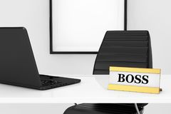 Boss Workplace Concept. Golden Boss Identification Plate and Lap. Top on the table in front of Black Leather Office Chair extreme closeup. 3d Rendering Stock Photo