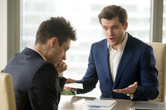 Free Boss Yelling At Employee For Missing Deadline, Bad Work Results Royalty Free Stock Photography - 97151317