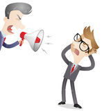 Boss yelling at employee. Vector illustration of a cartoon character: Boss yelling through megaphone at his frustrated employee Stock Image