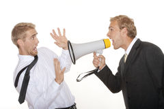 Boss yelling into megaphone Stock Image