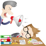 Boss yelling at sleeping employee. Vector illustration of cartoon characters: Boss yelling through megaphone at sleeping employee at the office Royalty Free Stock Photos