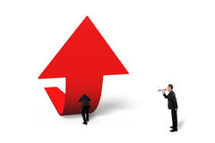 Boss yelling at staff pushing red trend 3D arrow upward. Boss using speaker yelling at staff pushing red trend 3D arrow upward, isolated on white background Stock Photo