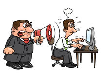 Boss yelling at worker 2. Illustration of the angry boss yelling into megaphone at worker. White background. Vector Stock Photo