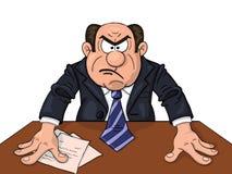 Bossage fâché à la table illustration de vecteur