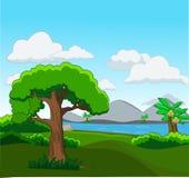 Bosscène met vele bomen en rivierillustratie royalty-vrije illustratie