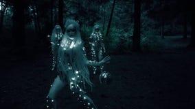 Bosschepselen bij nacht in het bos stock video