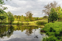 Bossen jachtgebied in het dorp van Velke-mezirici in royalty-vrije stock foto's
