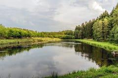 Bossen jachtgebied in het dorp van Velke-mezirici in Royalty-vrije Stock Afbeelding