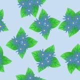 Bossen van blauwe fantasiebloemen op lichtblauwe achtergrond vector illustratie