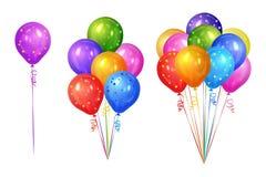 Bossen van kleurrijke die heliumballons op witte achtergrond worden geïsoleerd royalty-vrije illustratie