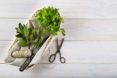 Bossen van peterselie en laurier op een witte houten achtergrond Stock Fotografie