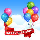 Bossen van realistisch kleurrijk heliumballons en lint vector illustratie