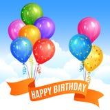 Bossen van realistisch kleurrijk heliumballons en lint royalty-vrije illustratie